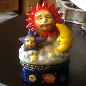 Happy Astrology Night Sky Trinket Box Sun Moon